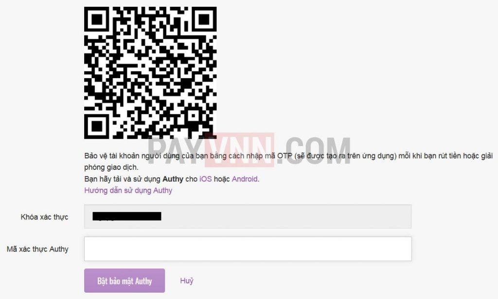 Quét mã QR bằng ứng dụng Authenticator trên điện thoại