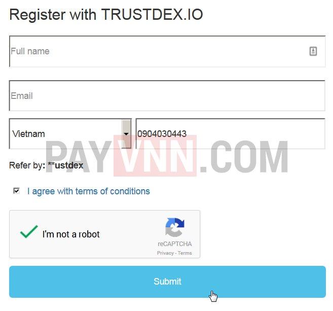 Form đăng ký TRUSTdex
