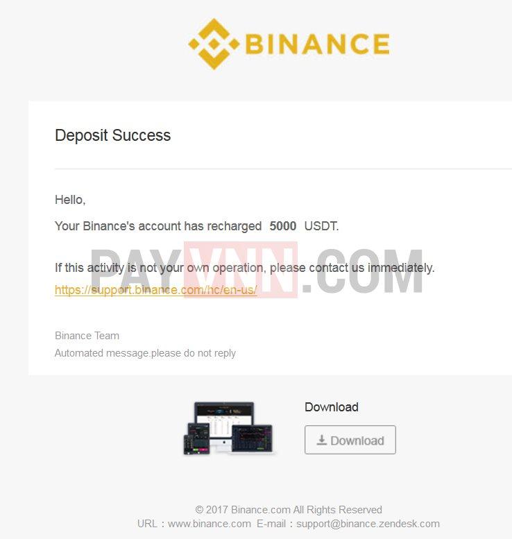 Nạp tiền Binance thành công
