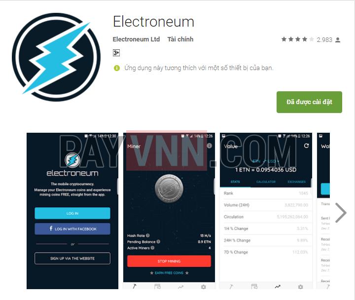 Ứng Dụng Electroneum đào ETN Trên Android
