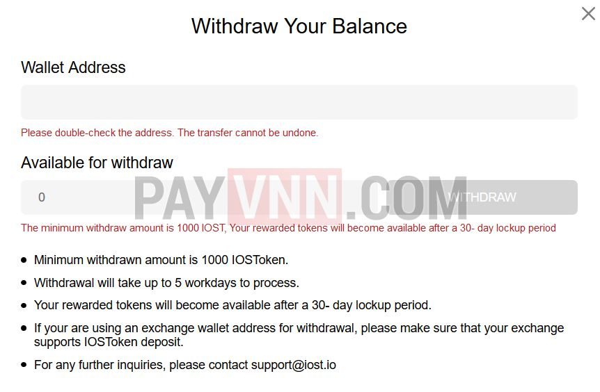 Withdraw IOST