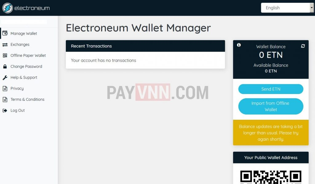 Giao dien chinh Electroneum
