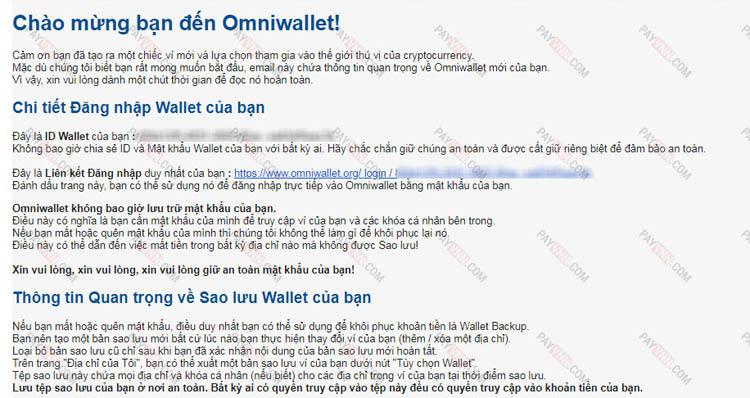 Omni Wallet gửi email chứa Wallet ID không chia sẻ Wallet ID cho bất cứ ai