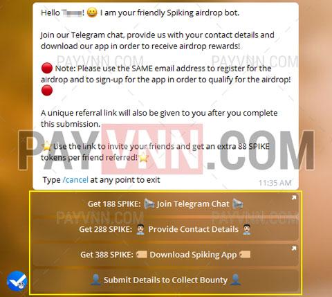 Tham gia Spiking Airdrop nhận token miễn phí giá trị cao với PayVNN