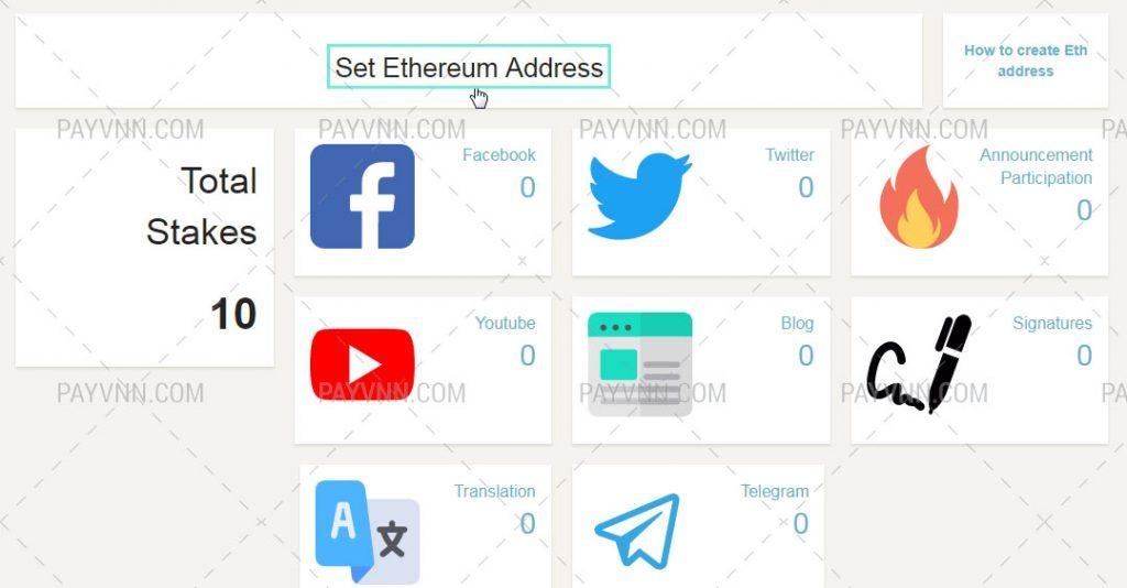 Thiết lập ví ETH bằng cách bấm nút Set Ethereum Address