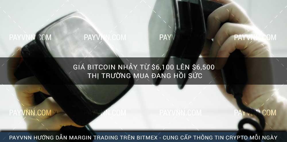 Giá Bitcoin nhảy từ $6,100 lên $6,500, Thị Trường Mua Đang Hồi Sức