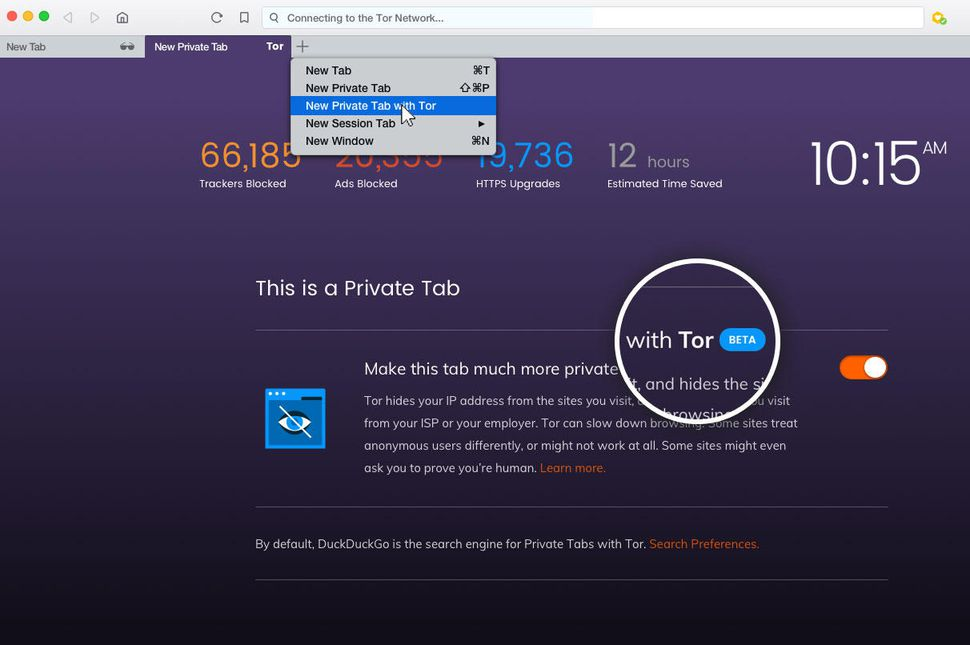 New Private Tab with Tor