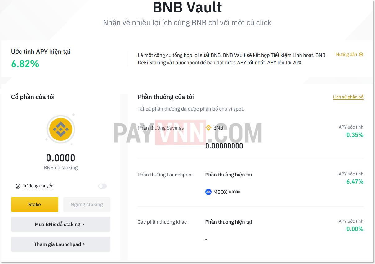 Kiếm lợi nhuận từ BNB với BNB Vault